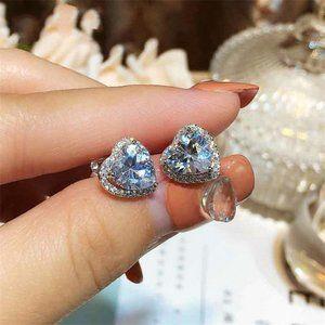 NEW Sterling Silver Diamond Halo Heart Earrings